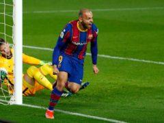 Barcelona's Martin Braithwaite struck Barcelona's winning goal during their Copa Del Rey victory over Sevilla (Joan Monfort/AP)