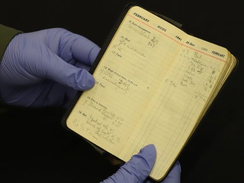 Undated handout photo issued by GCHQ of the private diary of Commander Alastair Denniston, the first Head of the GCHQ, which reveals intelligence meetings that took place with US counterparts during WW2 (GCHQ/PA)
