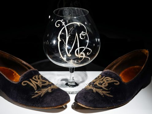 A pair of Sir Winston Churchill's velvet slippers will go under the hammer later this month (Bellmans Auctioneers/PA)