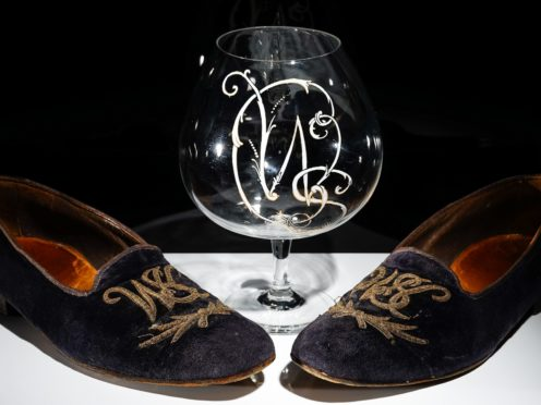 Sir Winston Churchill's velvet slippers and brandy glass (Bellmans Auctioneers/PA)