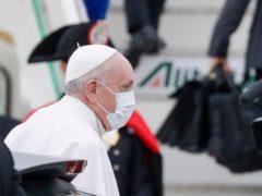 Pope Francis prepares to fly to Iraq from Fiumicino's International airport Leonardo da Vinci, near Rome (Gregorio Borgia/AP)