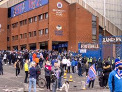 Rangers fans outside Ibrox on Saturday (Jeff Holmes/PA)
