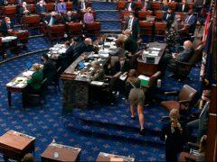 Senators vote on final passage of the US senate version of the Covid-19 relief bill (Senate TV/AP)
