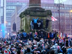 Rangers fans celebrated in George Square after their team'scottish Premiership title win (
