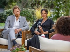 Handout photo supplied by Harpo Productions showing the Duke and Duchess of Sussex during their interview with Oprah Winfrey (Joe Pugliese/Harpo Productions)