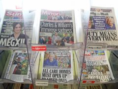 The front pages of newspapers the morning after the Duke and Duchess's explosive interview aired (Gareth Fuller/PA)