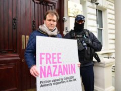 Richard Ratcliffe, the husband of Nazanin Zaghari-Ratcliffe, during a protest outside the Iranian embassy (Ian West/PA)