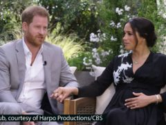 The Duke and Duchess of Sussex during their interview with Oprah Winfrey (Harpo Productions/CBS/PA)