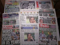 The front pages of UK national newspapers (Yui Mok/PA)