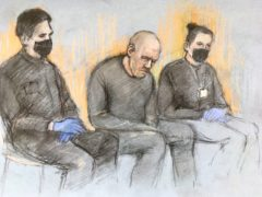 Court artist sketch of serving police constable Wayne Couzens appearing in the dock at Westminster Magistrates' Court (Elizabeth Cook/PA)