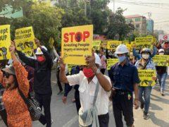 Anti-coup protesters in Myanmar (AP)