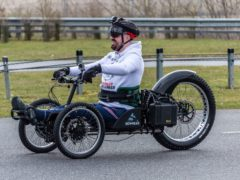 Martin Hibbert, 44, riding in a custom-built handbike, which he plans to use to climb Mount Kilimanjaro, to raise money for others with spinal injuries (Cloud Force Marketing/Sam Manton/PA)