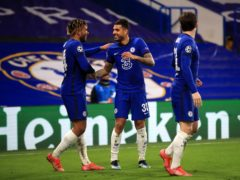 Emerson Palmieri, centre, celebrates his goal in Chelsea's 2-0 Champions League win over Atletico Madrid (Adam Davy/PA)