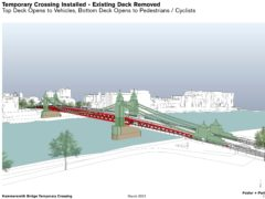 The proposals would see Hammersmith Bridge become a double-decked crossing (Foster + Partners/COWI/PA)