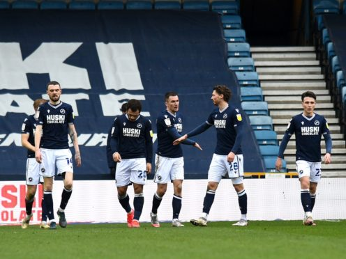 Millwall players celebrate after Middlesbrough's Grant Hall scored an own goal (Kirsty O'Connor/PA)