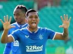 Rangers striker Alfredo Morelos celebrates netting against Celtic (Andrew Milligan/PA)