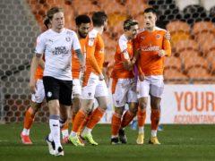 Blackpool's Jerry Yates celebrates scoring (Martin Rickett/PA)