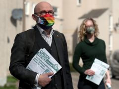 Patrick Harvie and Lorna Slater handed out leaflets in Edinburgh (Andrew Milligan/PA)