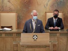 The Prince of Wales (left) makes a speech in the City Council Chamber, after being presented with The Gold Medal of Athens by Mayor of Athens, Kostas Bakoyannis (Chris Jackson/PA)