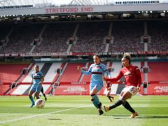 Manchester United's Lauren James shoots during the match at Old Trafford (Zac Goodwin/PA)