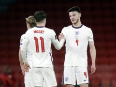 Declan Rice, right, reacts after the final whistle in Tirana (Florian Abazaj/AP)