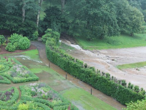 Flooding in the garden at Lyme Park, Cheshire (National Trust/PA)