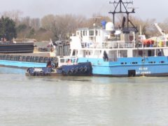 The Elise cargo ship stuck in the River Arun (Michael Drummond/PA)