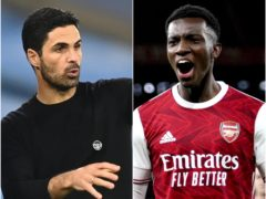 Mikel Arteta admits he is worried about the development of striker Eddie Nketiah (Michael Regan/PA/Will Oliver/PA)