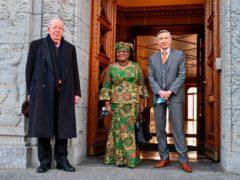 New Director-General of the World Trade Organisation Ngozi Okonjo-Iweala, centre (Fabrice Coffrini/Pool/Keystone via AP)