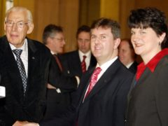 Lagan Valley MP Jeffrey Donaldson (centre) and ex-Ulster Unionist Arlene Foster (right) with the Rev Ian Paisley, then leader of the Democratic Unionists and the party founder, at Stormont (Paul Faith/PA)