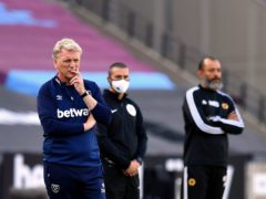 David Moyes, left, wants West Ham to take it one game at a time in their battle to secure European football next season as he prepares to face Nuno Espirito Santo's Wolves (Ben Stansall/NMC Pool/PA)