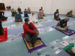 Worshippers attend a sermon at the Baitur Rahman Mosque in Glasgow (PA)