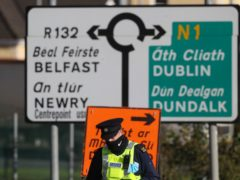Gardai at the border crossing between Northern Ireland and the Republic of Ireland (Brian Lawless(/PA)