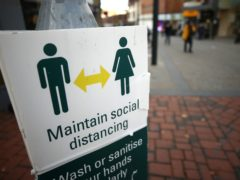 A social distancing sign in Derby city centre (Tim Goode/PA)
