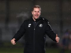 Harrogate manager Simon Weaver was able to celebrate survival with the win over Bradford (Mike Egerton/PA)