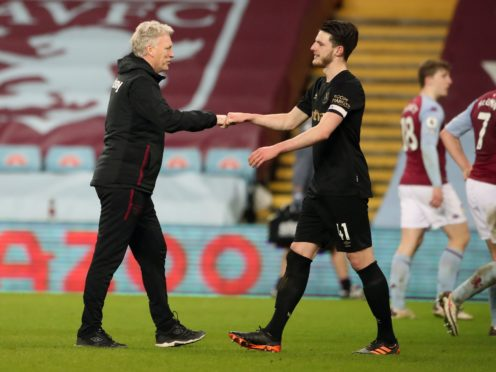 West Ham manager David Moyes says injured England midfielder Declan Rice is working hard to get back playing as quickly as possible (Nick Potts/PA)