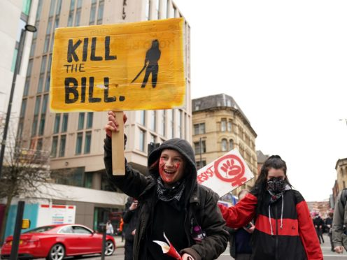 Demonstrators during the Kill The Bill protest against The Police, Crime, Sentencing and Courts Bill in St Peter's Square, Manchester on March 27 (Zac Goodwin/PA)