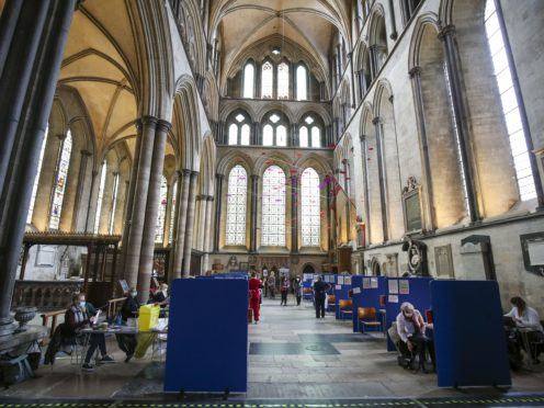 Cubicles inside Salisbury Cathedral, Wiltshire, for people to receive a coronavirus vaccination (Steve Parsons/PA)