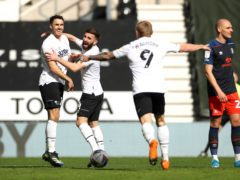 Lee Gregory (left) put Derby ahead against Luton (Bradley Collyer/PA)