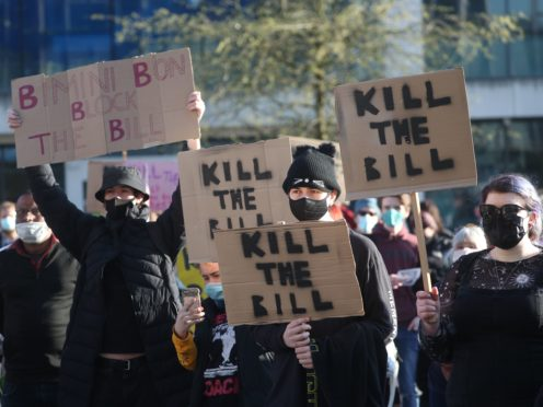 Demonstrators during a 'Kill The Bill' protest in Guildhall Square in Southampton (PA)