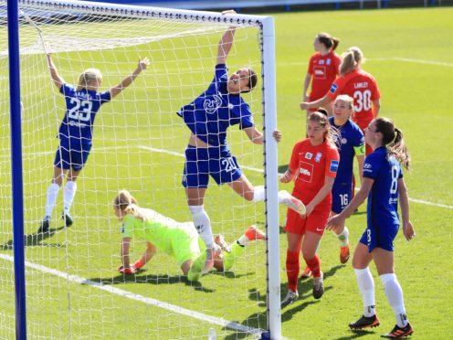 Chelsea's Sam Kerr, centre, celebrates completing her hat-trick in Chelsea Women's win against Birmingham City Women (Adam Davy/PA)