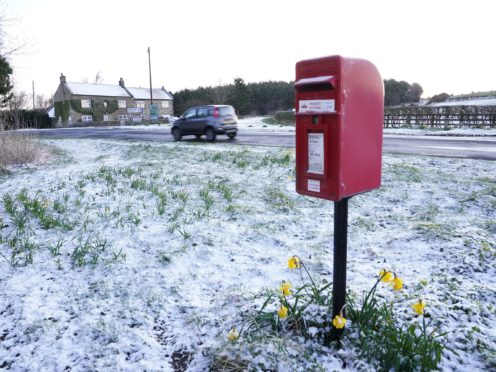 Snow fell overnight in Northumberland (Owen Humphreys/PA)