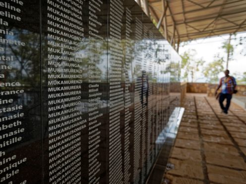 The names of those who were slaughtered as they sought refuge are written on a memorial to the thousands who were killed in and around the Catholic church during the 1994 genocide in Ntarama, Rwanda (Ben Curtis/AP)