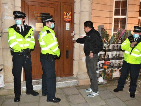 Myanmar ambassador to UK Kyaw Zwar Minn tries unsuccessfully to enter the Embassy of Myanmar in London (Dominic Linpinski/PA)
