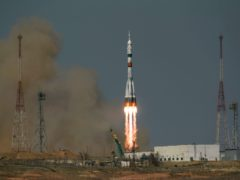 The Soyuz MS-18 rocket is launched (Bill Ingalls/AP)