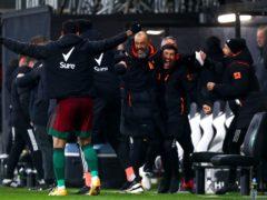 Nuno Espirito Santo celebrates Wolves' late winner at Fulham (Clive Rose/PA)