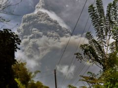Plumes of ash rise from the La Soufriere volcano (Orvil Samuel/AP)