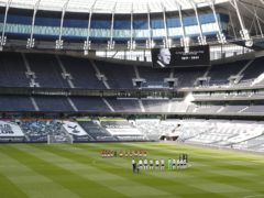 Tottenham and Manchester United players observe a two-minute silence in honour of the Duke of Edinburgh (Matthew Childs/PA)