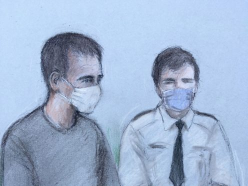 Court artist sketch of Thomas Schreiber (left), 34, appearing at Poole Magistrates Court (Elizabeth Cook/PA)