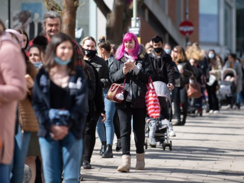 Shoppers queue outside Primark in Norwich as lockdown restrictions are eased in England (Joe Giddens/PA)